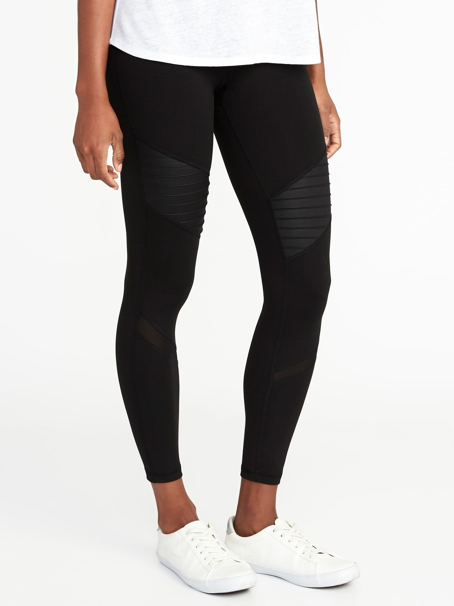 c6cea9a8f7127 High-Rise 7/8-Length Moto Compression Street Leggings for Women | Old Navy  size XS in black