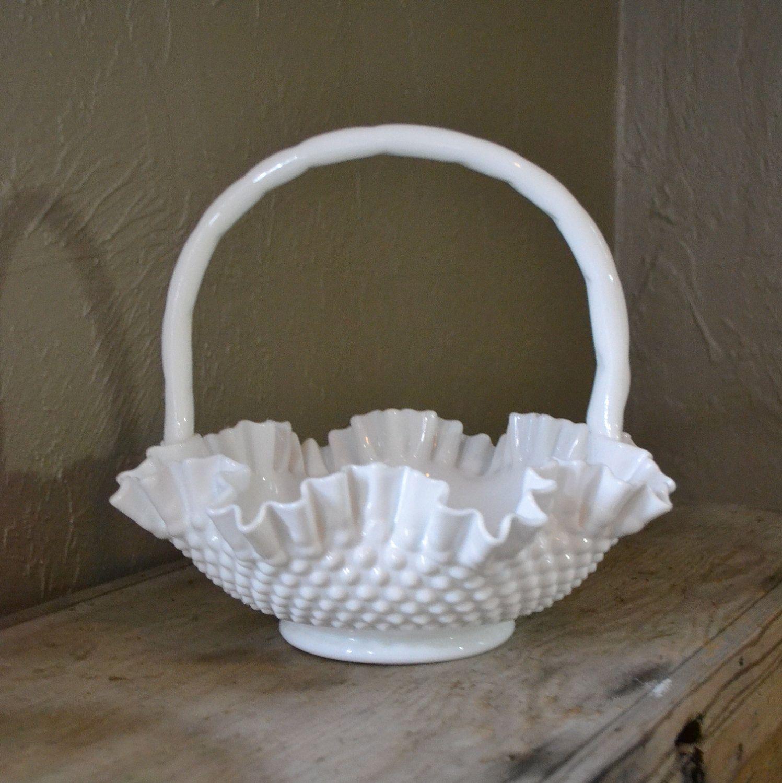Vintage Fenton Hobnail Milk Glass Basket Wedding Centerpiece Holiday Decoracao Vidro