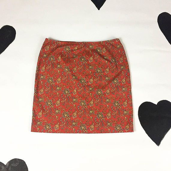 90s Red Paisley Allover Print High Waist Stretch Cotton Mini