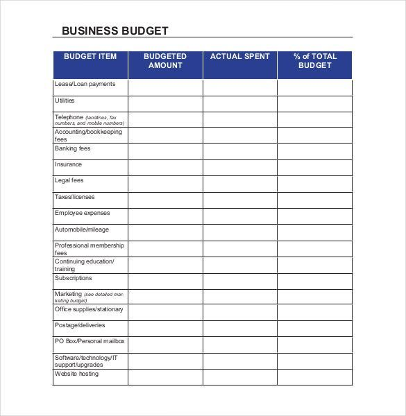 small business budget examples