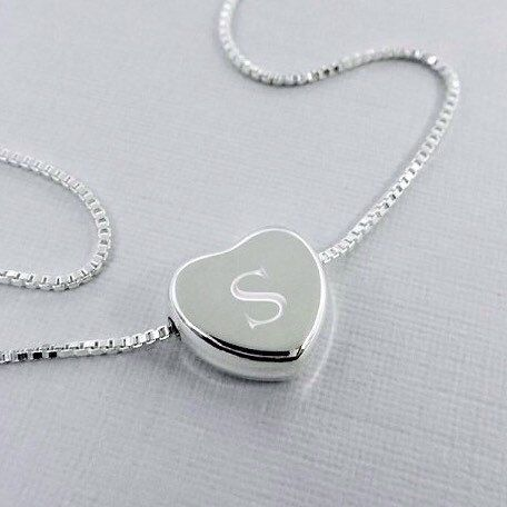 Engraved Sterling Silver Heart Necklace  Can be engraved both sides..