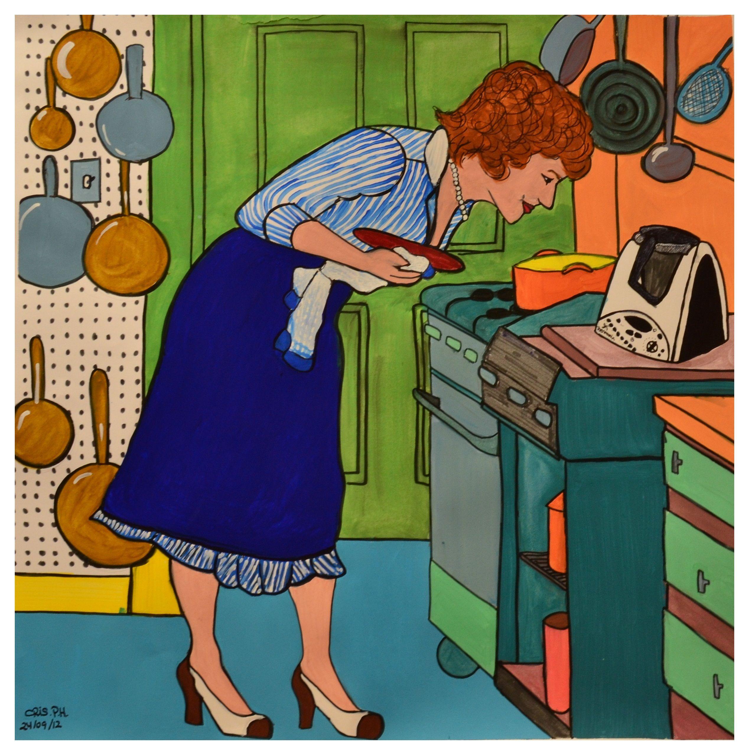Cocinando (ilustración en temperas) #ilustration #acriliccolours #cooking #kitchen