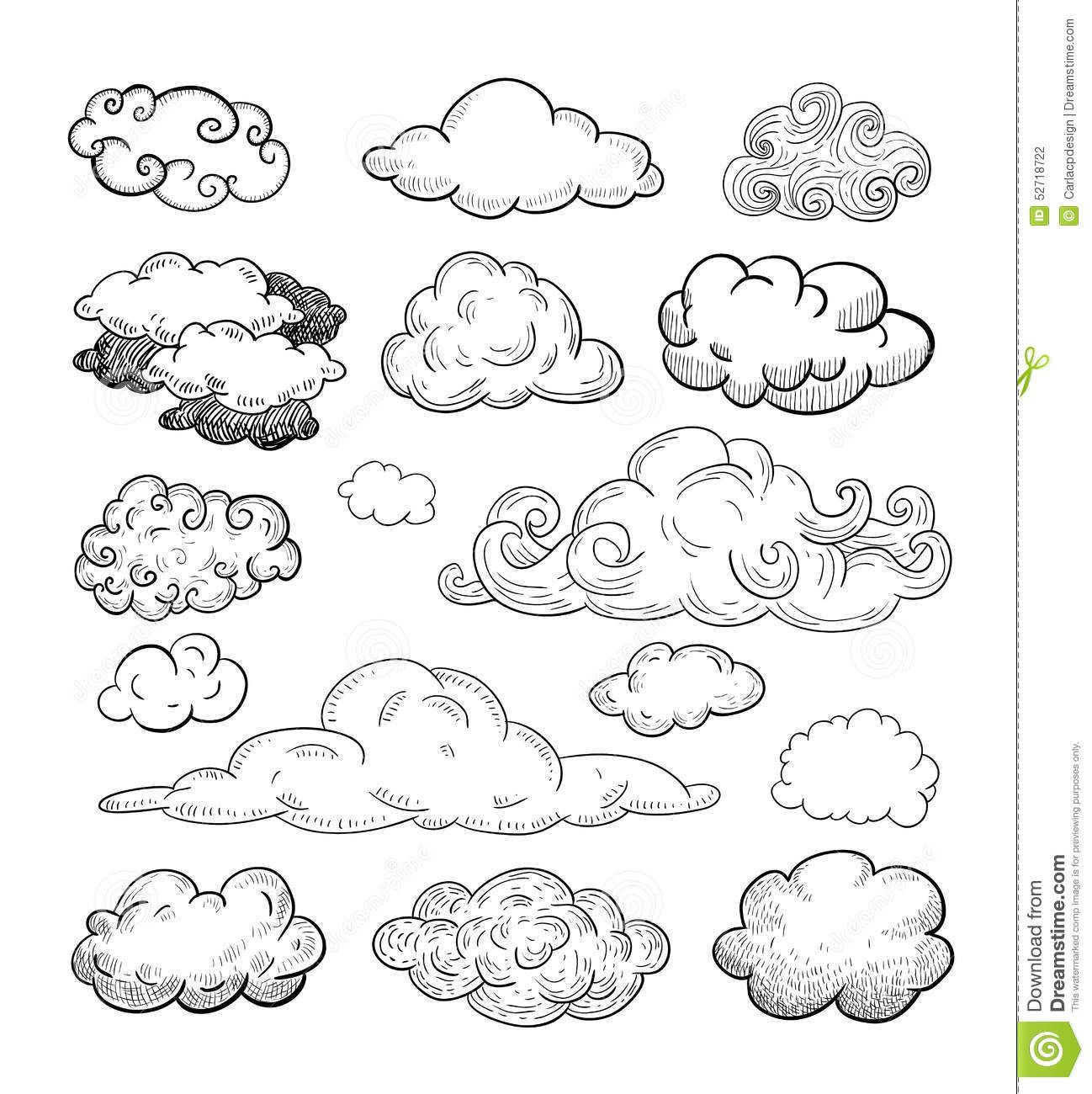 Line Art Clouds : Doodle collection of hand drawn vector clouds stock