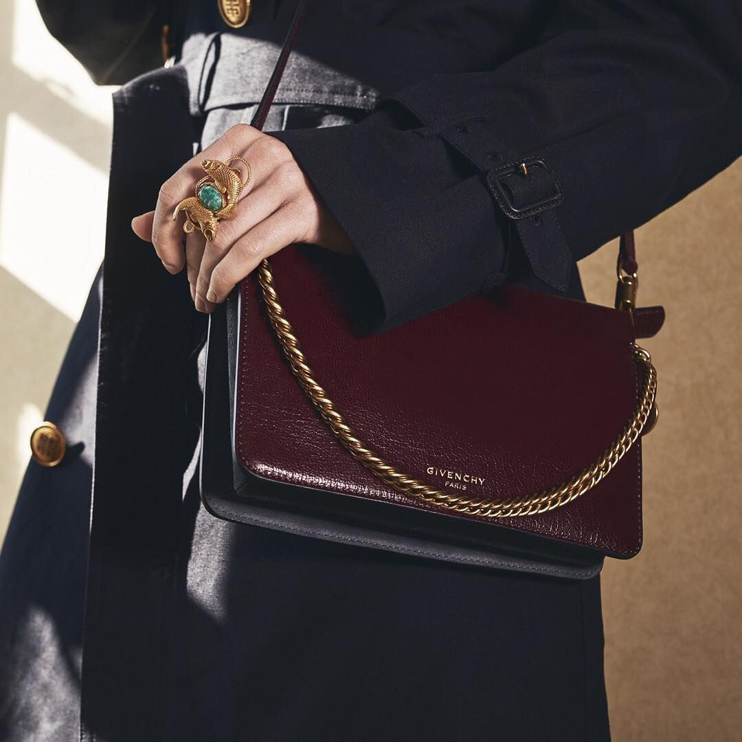 91a1e8d68f11f HE CROSS3 bag in eggplant flat grain leather and graphite suede from the   GivenchyFall18 women s collection designed by