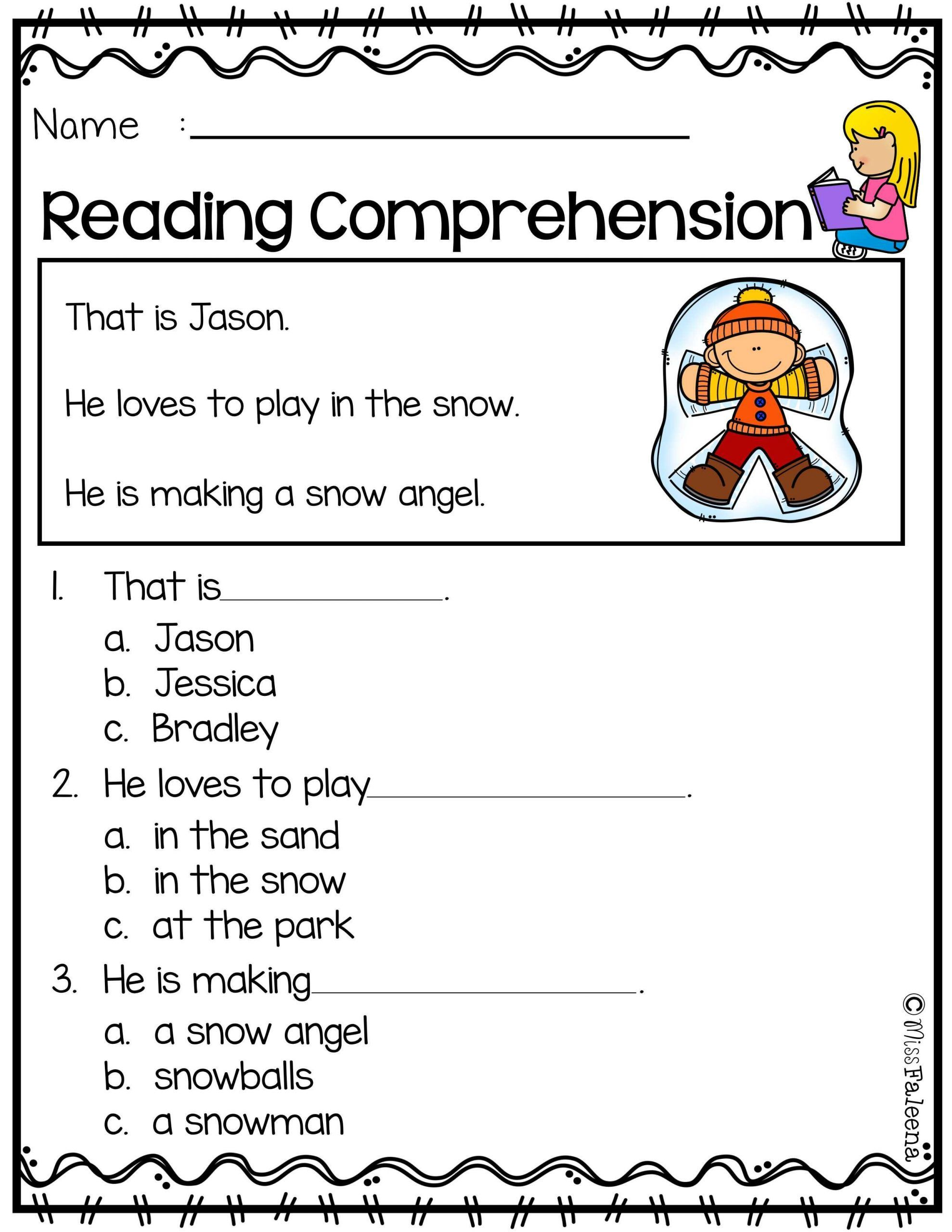 20 Kindergarten Reading Comprehension Worksheets