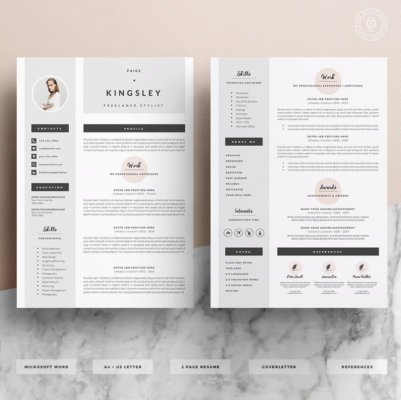Professional Resume Template Cover Letter Icon Set For Etsy Resume Template Professional Resume Template Professional Resume