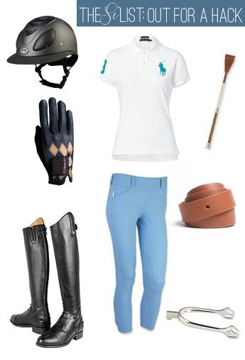 Blueoutfit And Gloves Helmet Whip Equestrian Outfits Riding Outfit Horseback Riding Outfits