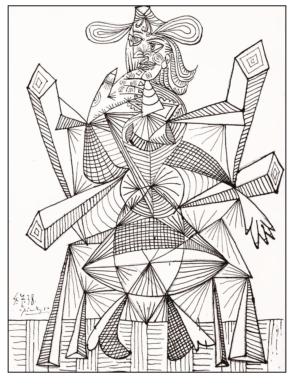free coloring page coloring adult drawing by picasso 1938 a drawing by the great pablo picasso perfect for an artistic coloring page
