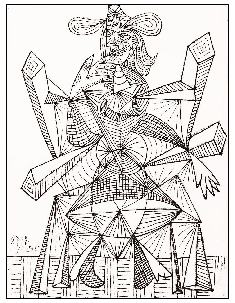Un dessin du grand Pablo Picasso datant de 1938 parfait pour un coloriage artistique