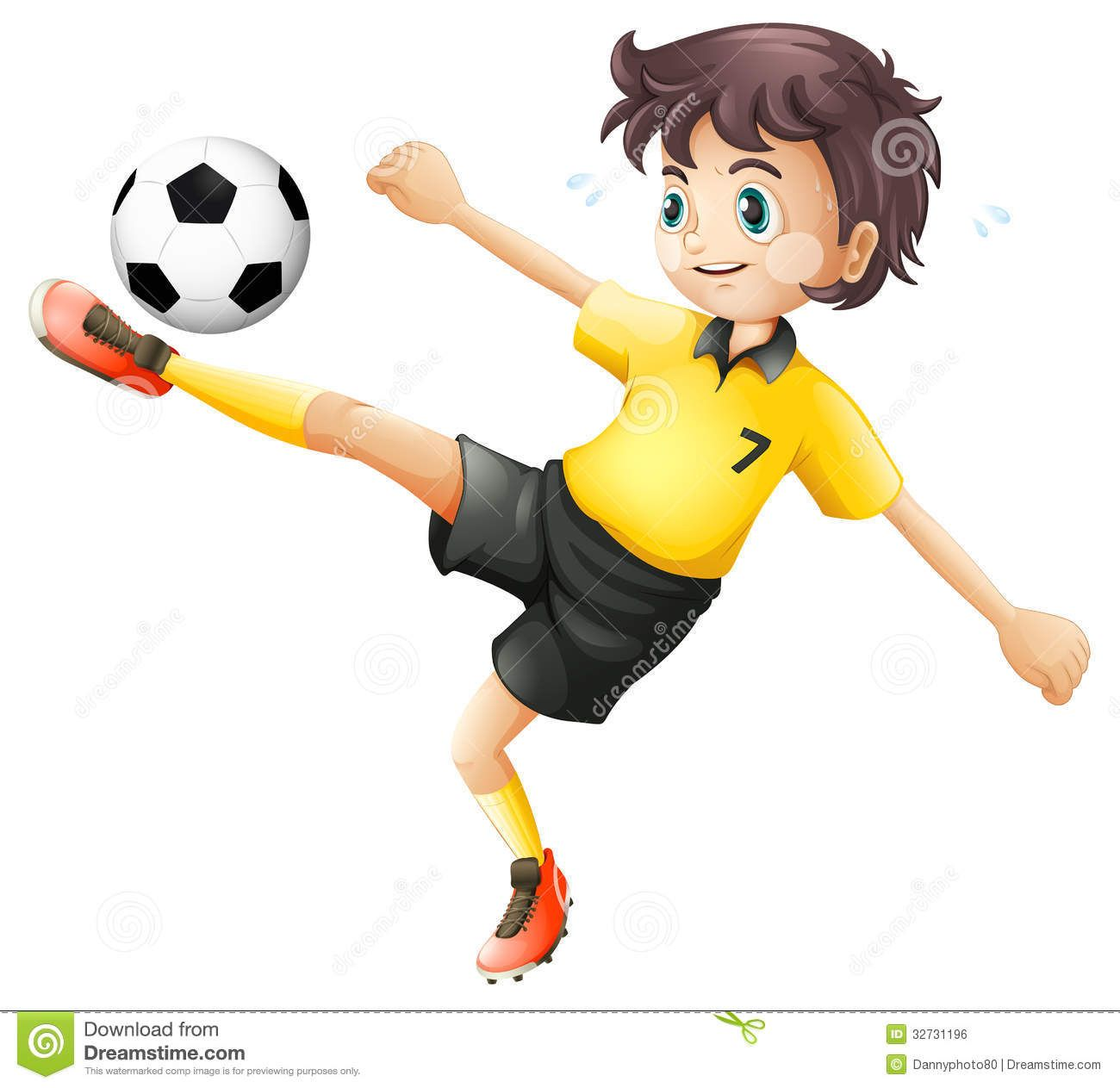 Boy Kicking Soccer Ball Illustrtaion White Background 32731196 Jpg 1300 1263 Nursery Wall Decals Soccer Boy Illustration