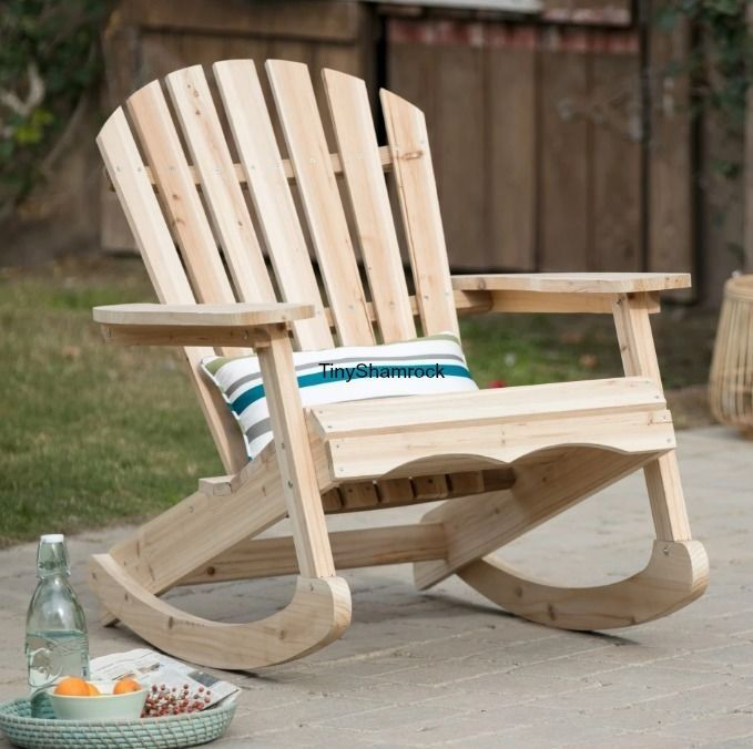 Adirondack Rocking Chair Porch Rocker Unfinished Patio Furniture Solid Wood New Chairs And Rockers