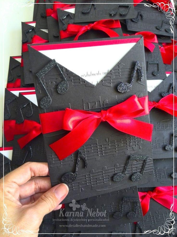 Tarjetas De Invitacion Con Notas Musicales Buscar Con