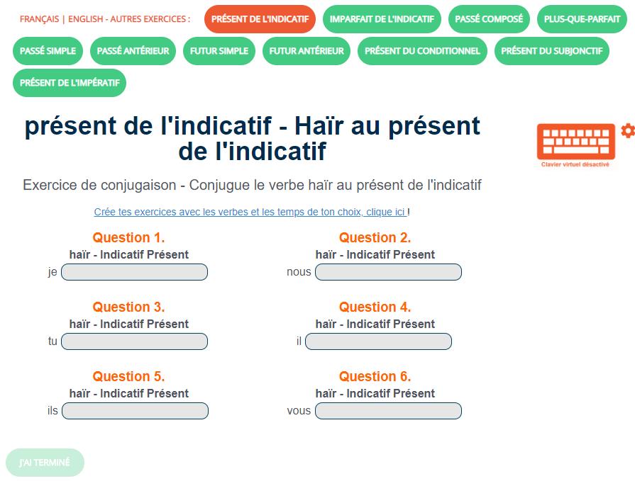 Exercice De Conjugaison Le Verbe Hair Au Present De L Indicatif Exercices Conjugaison Verbe Prendre Prendre Au Present