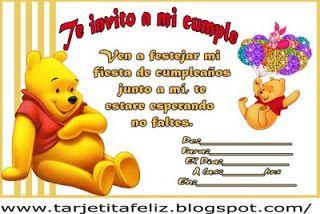 Tarjetas De Cumpleaños Para Imprimir Invitación Winnie The