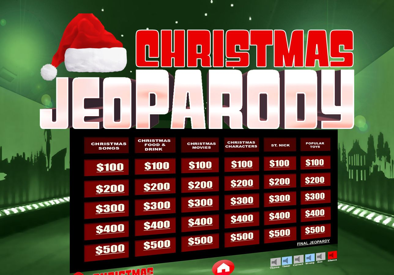 Christmas Jeopardy Powerpoint Template More Details On The Game Board There Are 6 Categories With Christmas Jeopardy Powerpoint Games Christmas Jeopardy Game