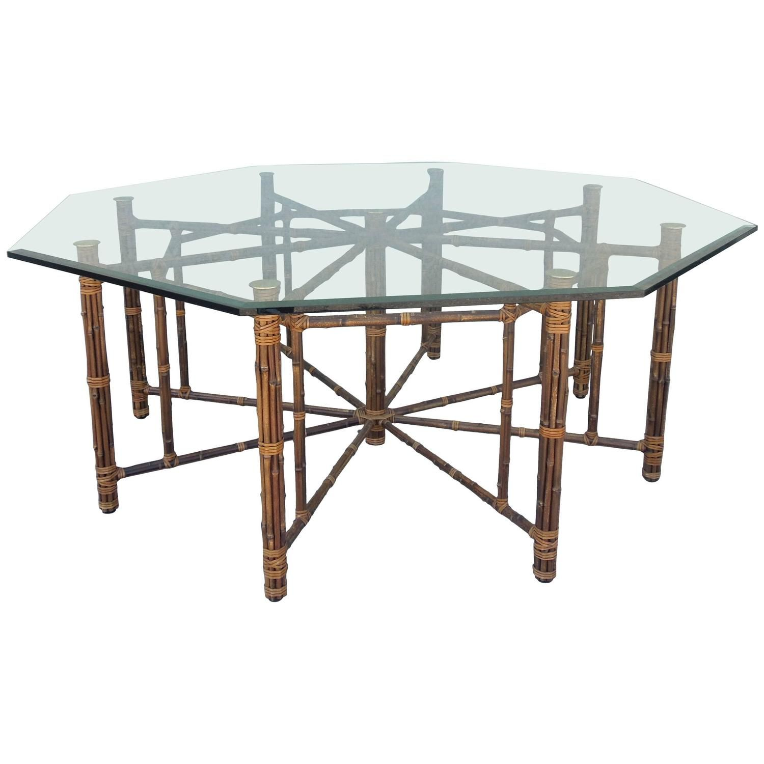 Rare Eight Leg Vintage McGuire Hexagon Dining Table