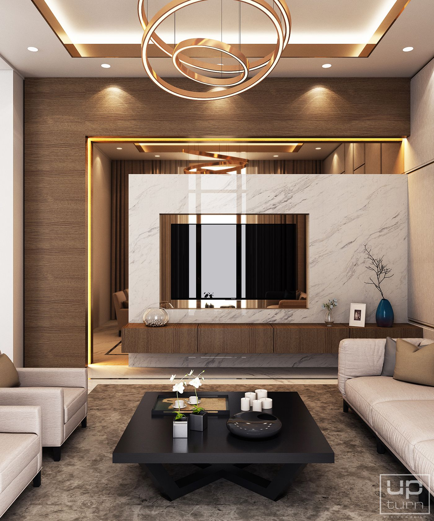 Living Area Cabinet Design: Luxury Modern Villa - Qatar On Behance