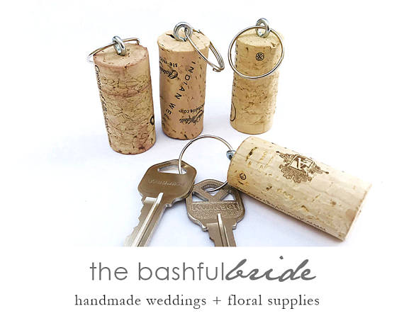 10 Cork Key Chain, Wedding Favors, Rustic Wedding Favor