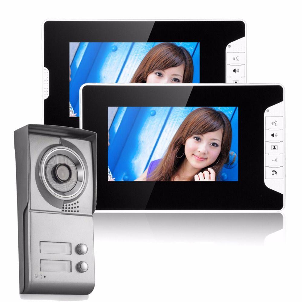 7 zoll verdrahtete videosprechanlage hd system 2 monitor 1 klingel