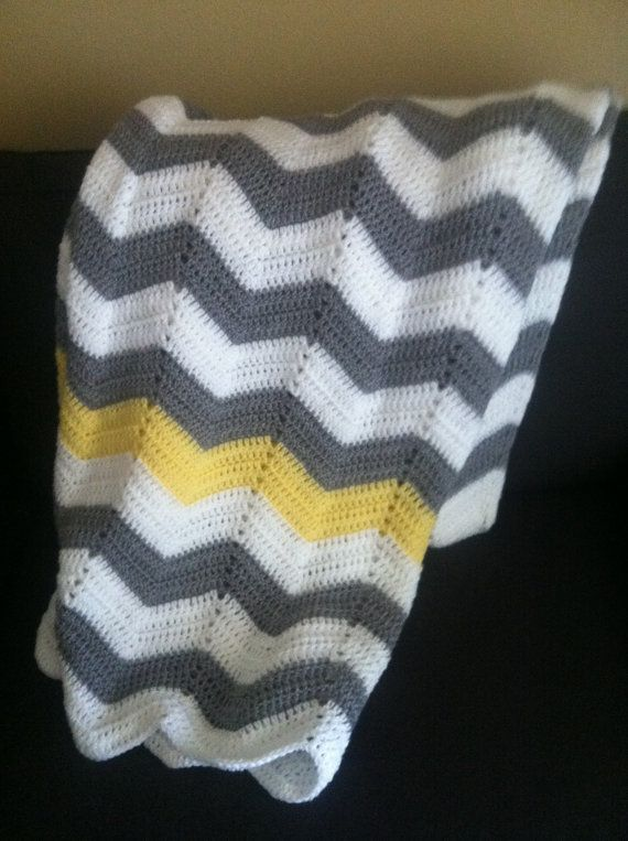 Adult size gray and white with yellow strip chevron crochet blanket