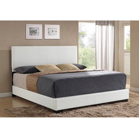 Ireland King Faux Leather Bed White Upholstered Bed Frame Bed