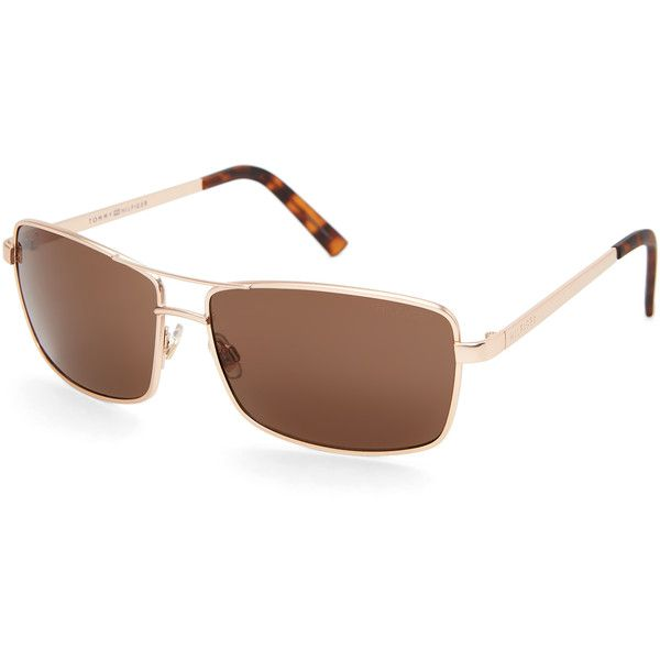 75f27c3a7a007 Tommy Hilfiger Brody MM OM308 Gold-Tone Aviator Sunglasses ( 20) ❤ liked on