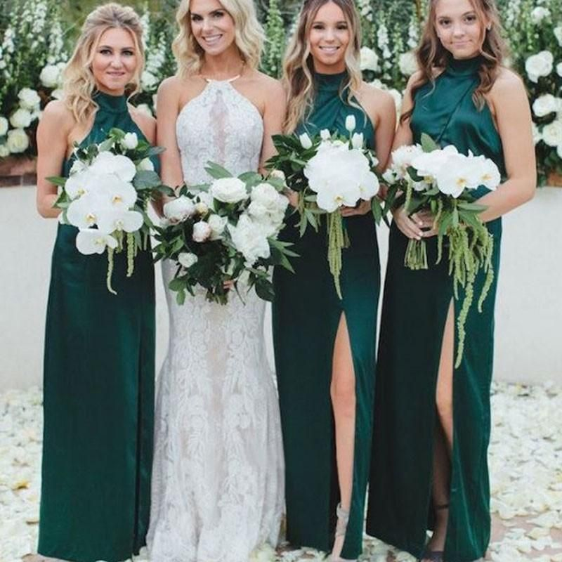 Sheath High Neck Long Cheap Dark Green Bridesmaid Dresses With