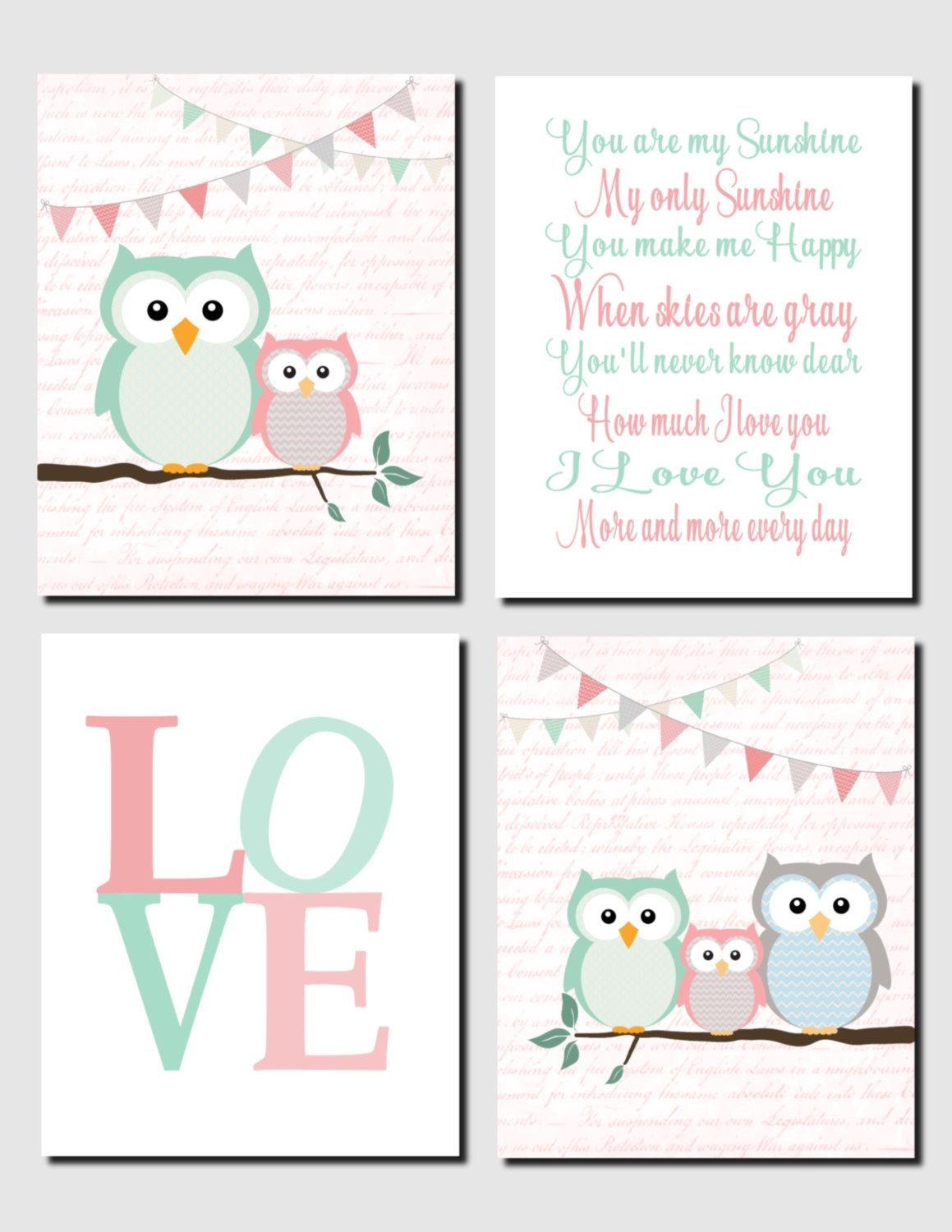 Baby Nursery Art Mint C Owl Wall Kids S Room You Are My Sunshine Love Theme Set Of 4 Prints By Vtdesigns On Etsy