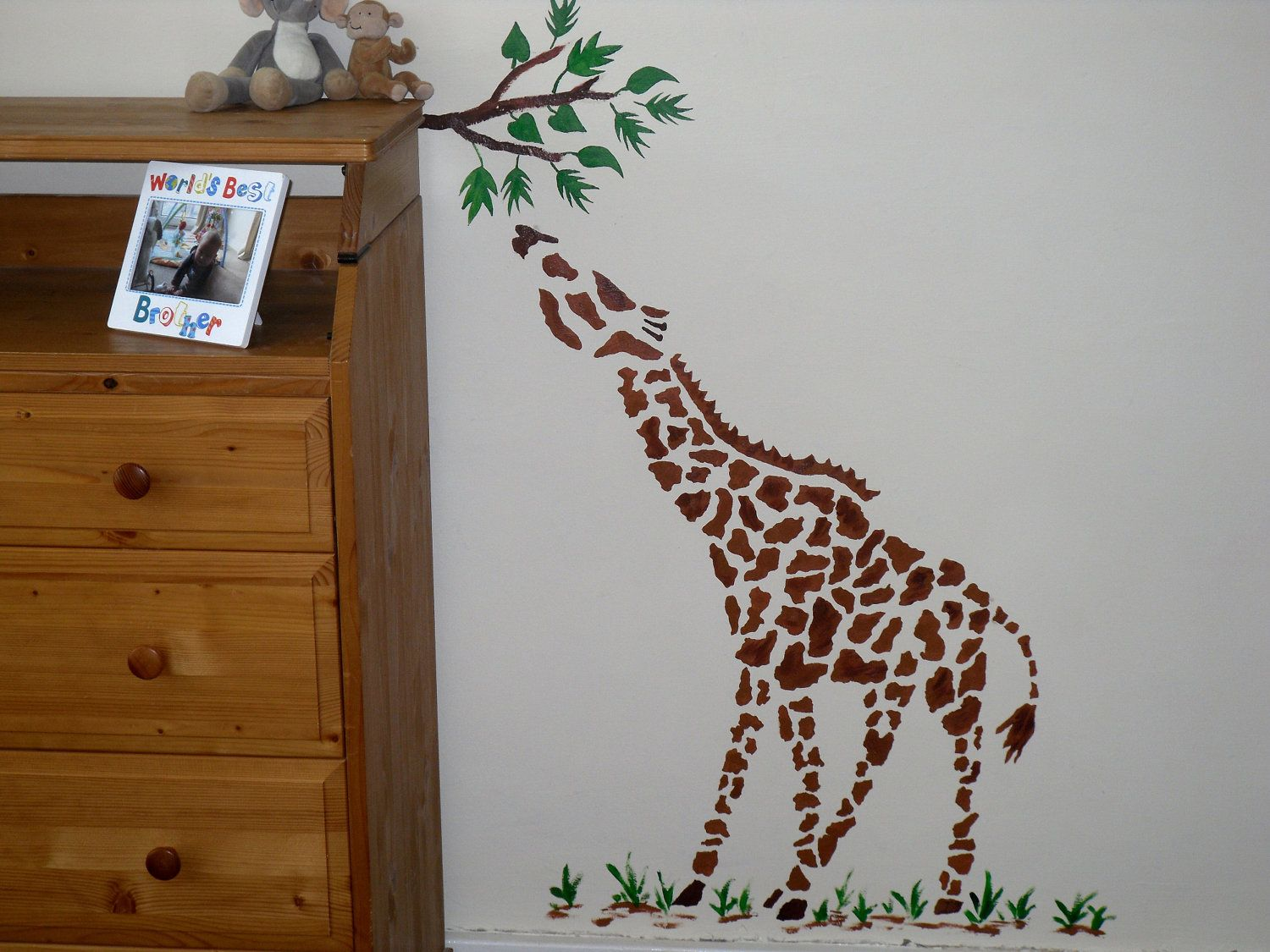 Large giraffe wall stencil childrens bedroom decor nursery wall large giraffe wall stencil childrens bedroom decor nursery wall art kids stencils room decoration amipublicfo Gallery