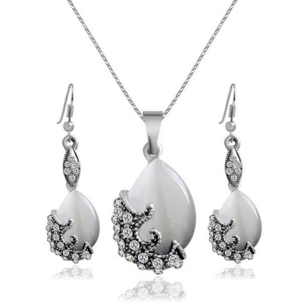 A Suit of Retro Faux Gem Rhinestone Water Drop Necklace and Earrings For Women #CLICK! #clothing, #shoes, #jewelry, #women, #men, #hats