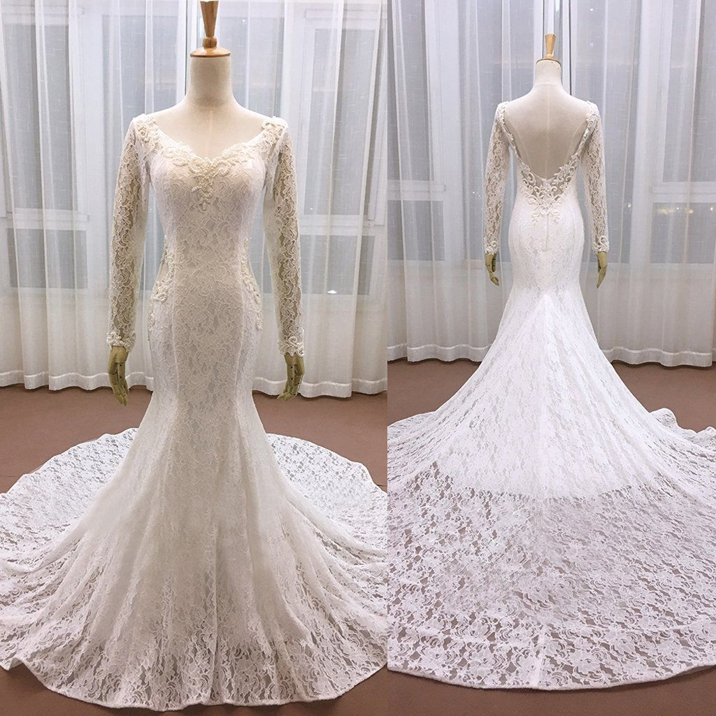 2018 Mermaid Wedding Dresses Long Sleeve Full Beaded Lace: 2018 New Vintage Fully Lace Beaded With Long Sleeves