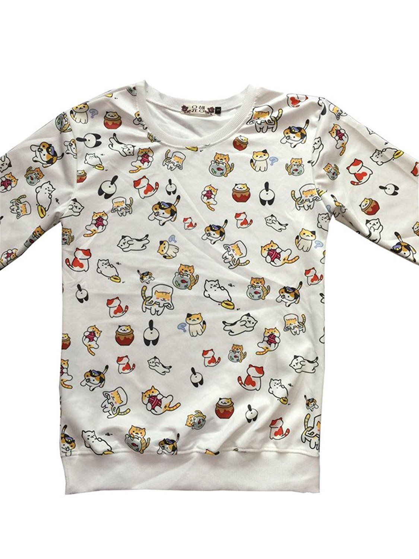 Cartoon game neko atsume cute cat sweater cotton polyester