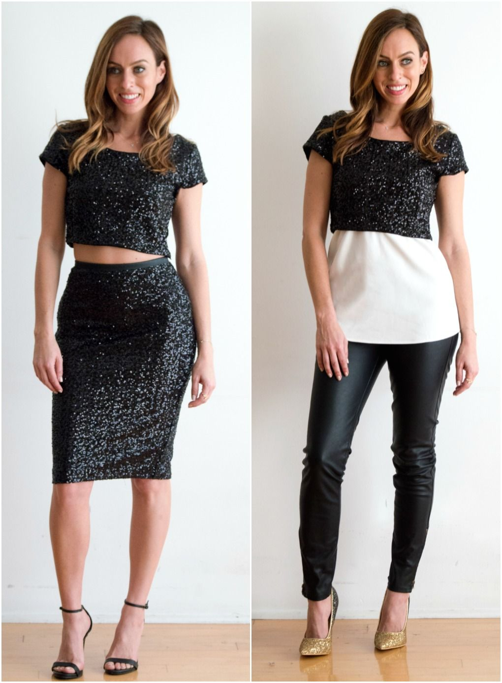 888879063d Sydne Style shows how to wear a sequin crop top for new years eve outfit  ideas