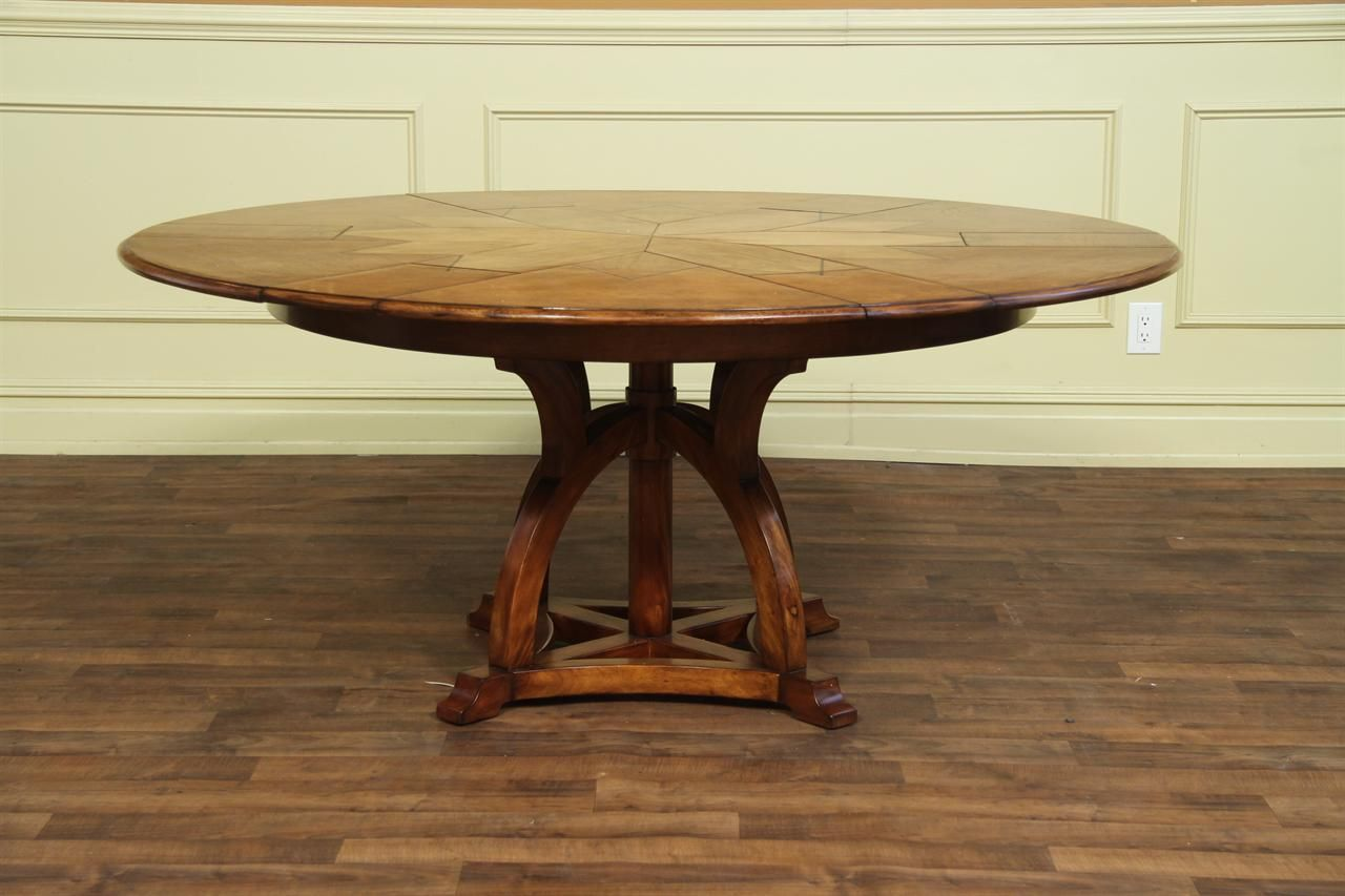 Solid Walnut Round Arts And Craft Expandable Dining Table Also