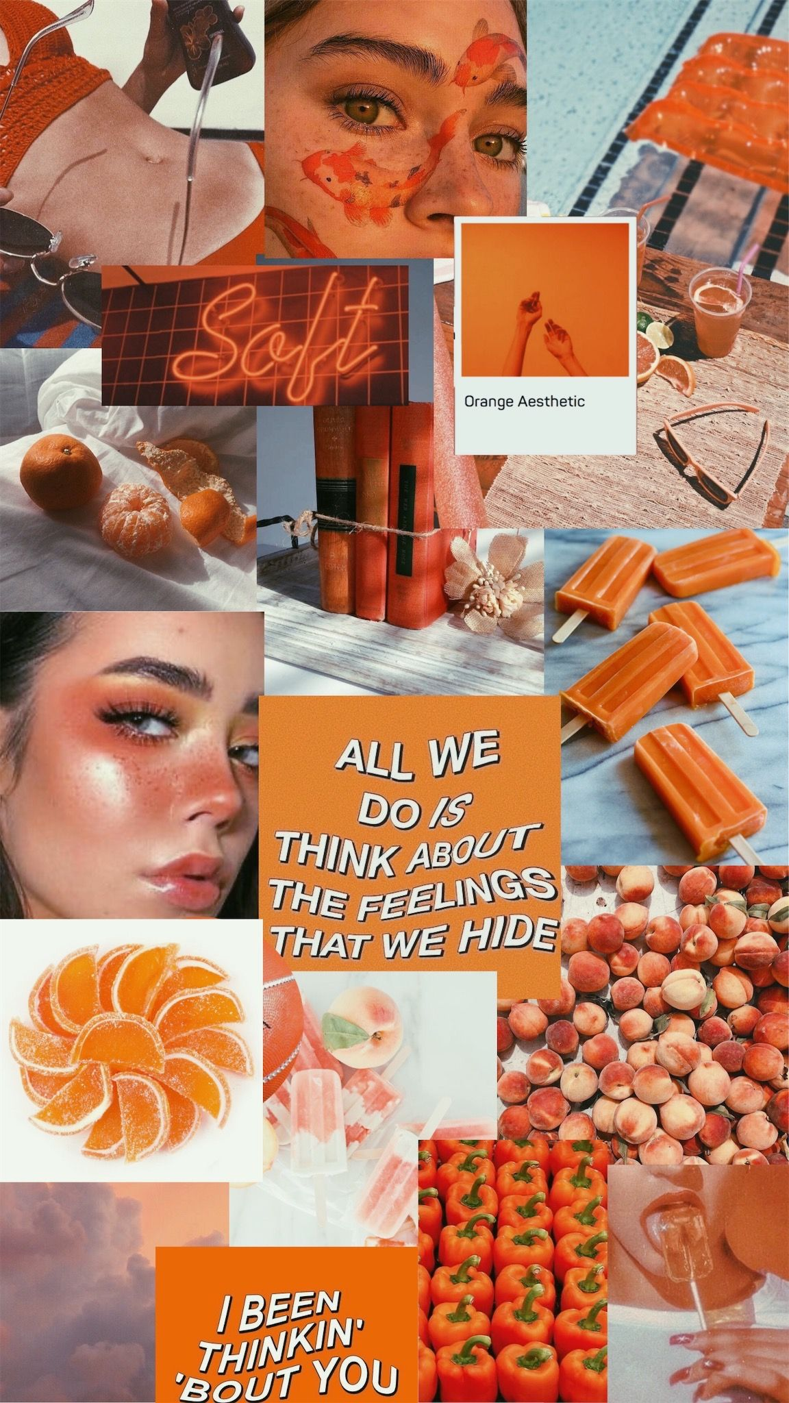 Aesthetic Collage Wallpaper Orange Aesthetic