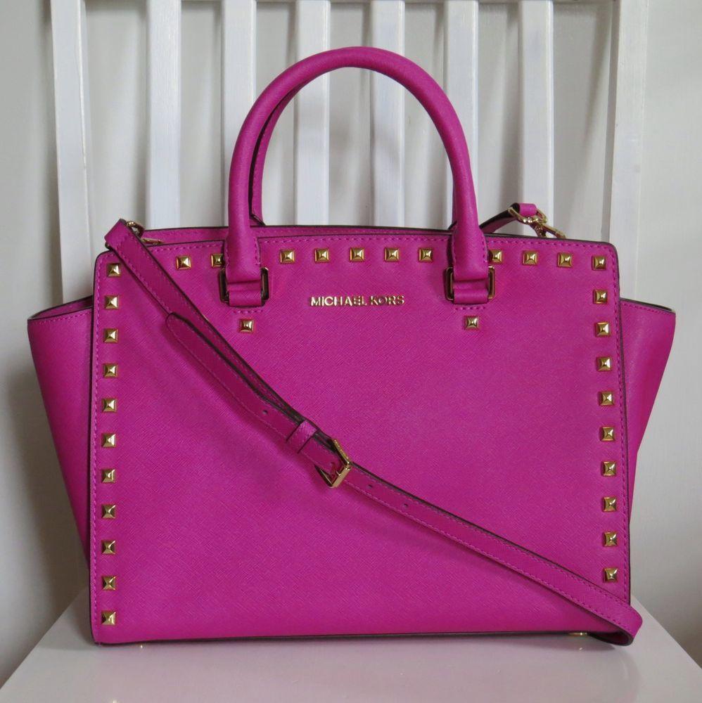 83968538ca469 Michael Kors Selma Large Gold Studded Raspberry Pink Satchel Saffiano  398  EUC  MichaelKors  Satchel