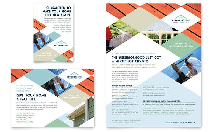 window cleaning and pressure washing flyer and ad template design by stocklayouts