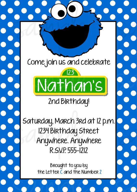 Cookie Monster Birthday Invitation Sesame Street Birthday