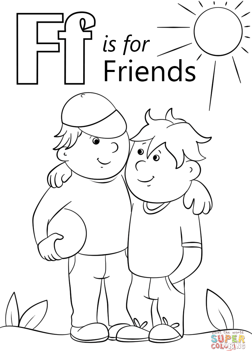 - Letter F Is For Friends Coloring Page From Letter F Category