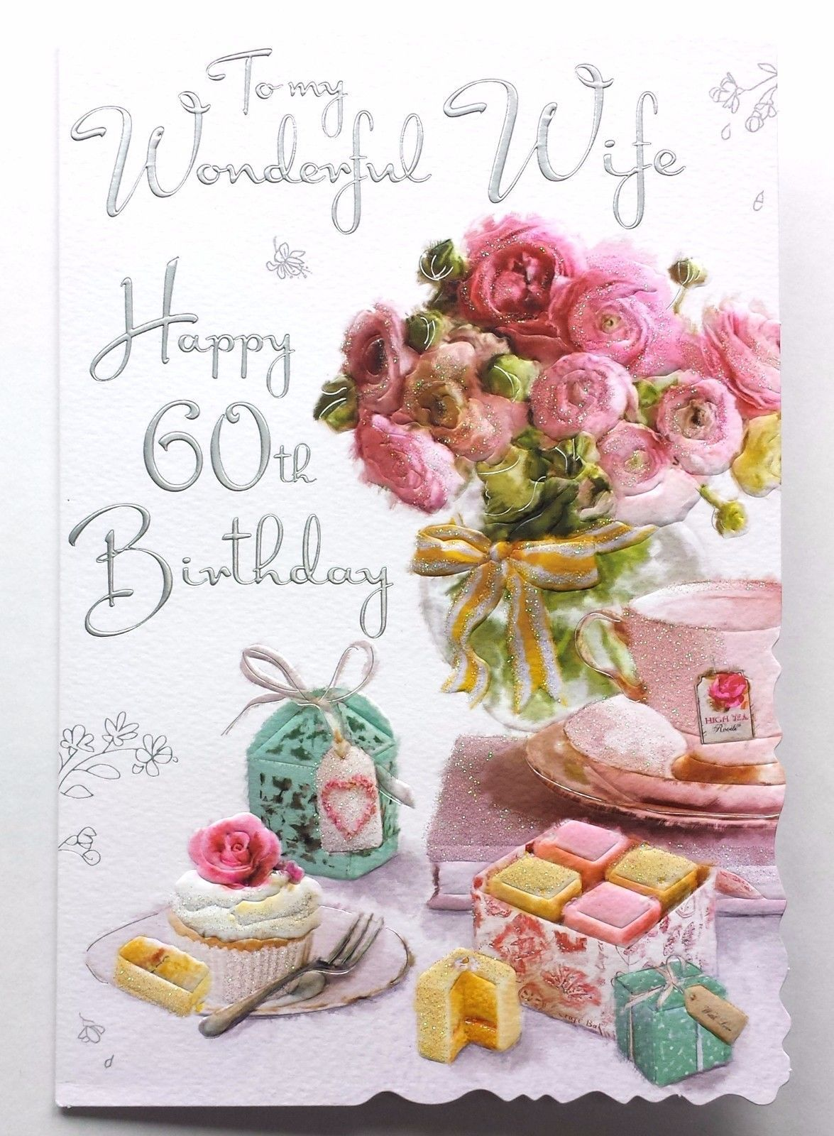 To My Wonderful Wife Happy 60th Birthday Beautiful 60 Birthday Card Lovely Words 60th Birthday Cards 60th Birthday Happy 60th Birthday