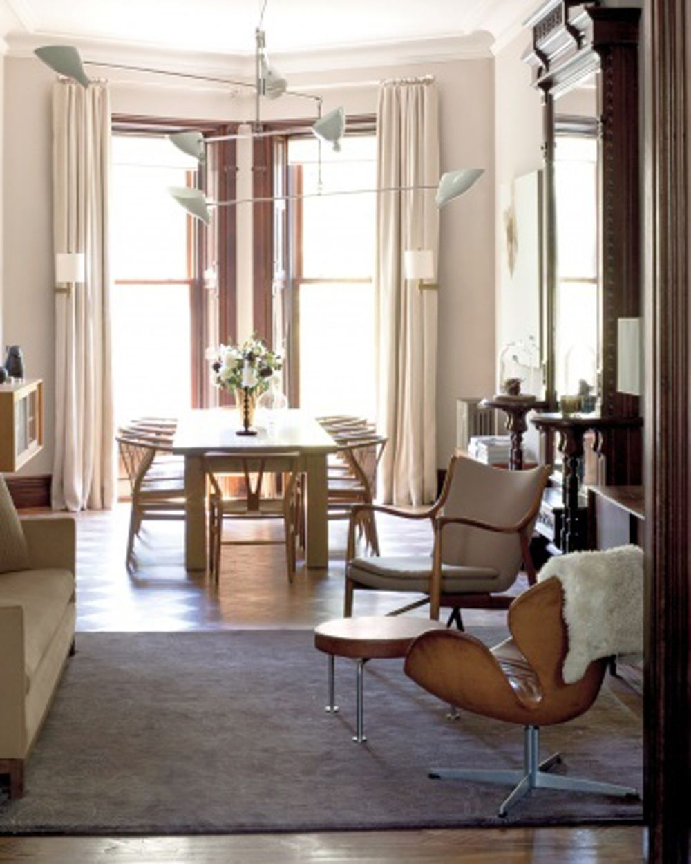 Danish Modern Living Room: Brooklyn Brownstone Dining Room