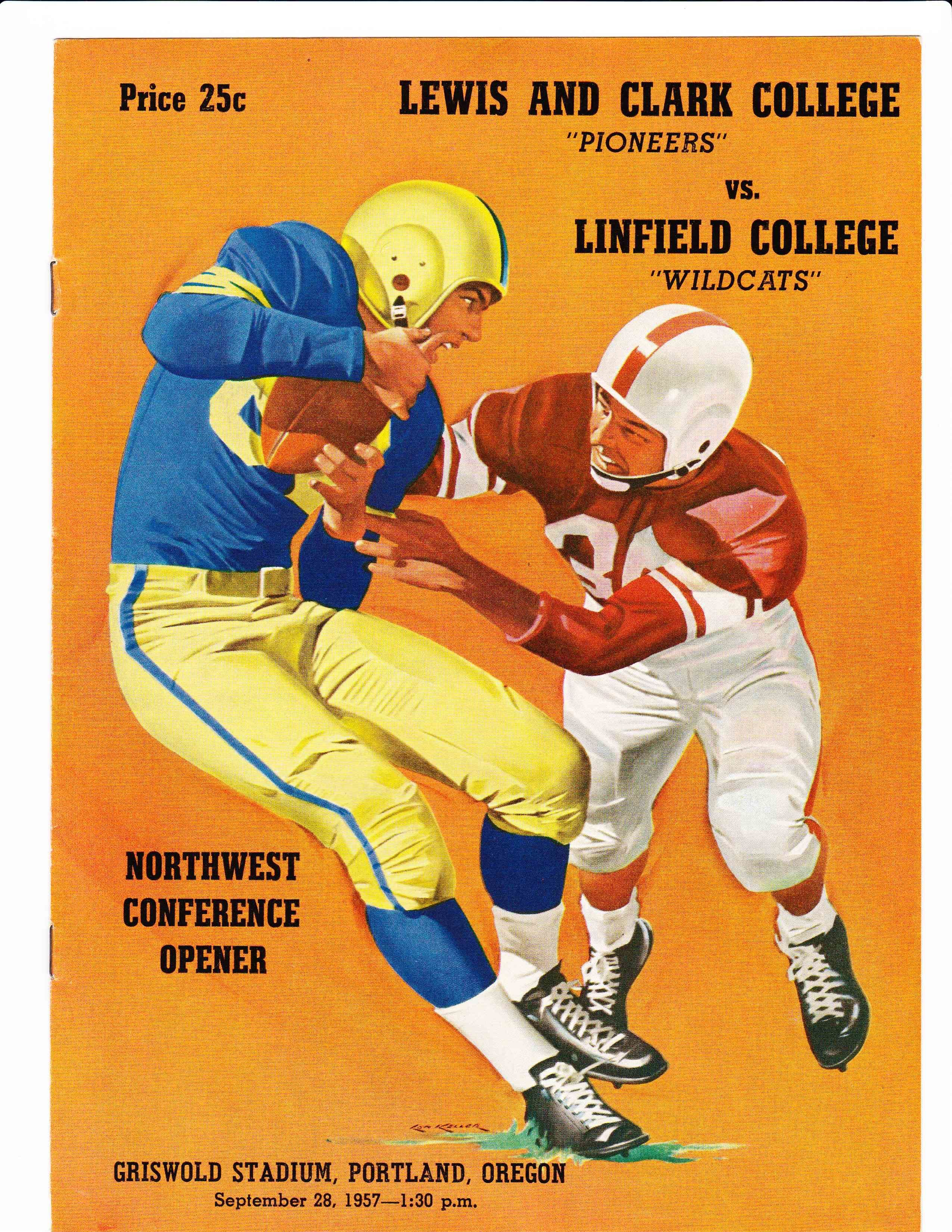 Lewis And Clark Vs Linfield College Football Program 1957 Lewis And Clark College Lewis And Clark Football Program