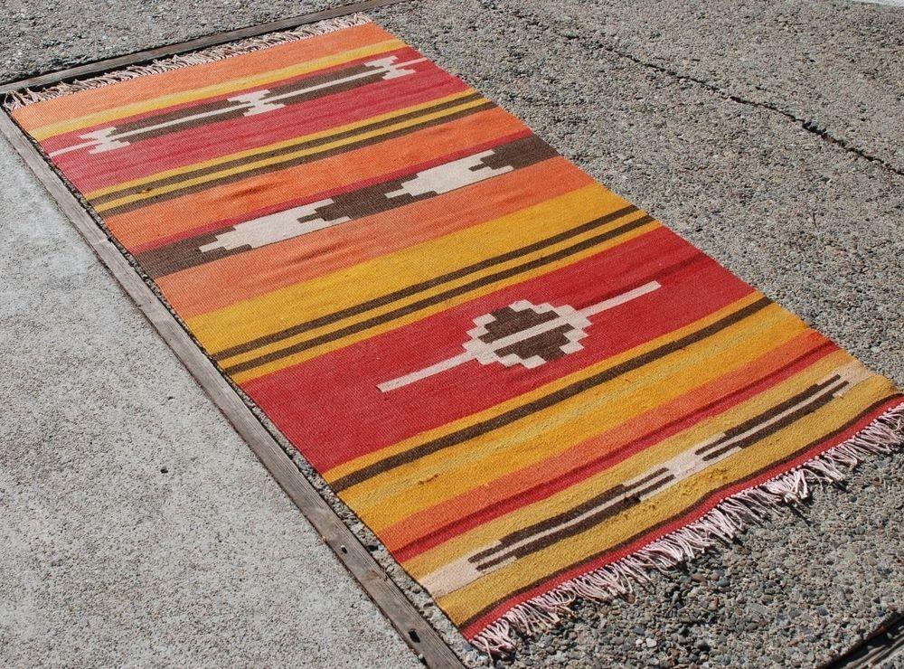 """3'2"""" x 5'8"""" // Hand Woven Anatolian Turkish Kiliim Natural Wool Red Yellow and Rust //  #TurkishKilim #Kilim #Handmade #Anatolian #handmaderug #rug"""