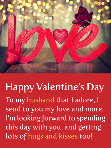 Hugs Kisses Happy Valentine S Day Card For Husband Birthday Greeting Cards By Davia Hugs And Kisses Quotes Kissing Quotes For Him Kissing Quotes
