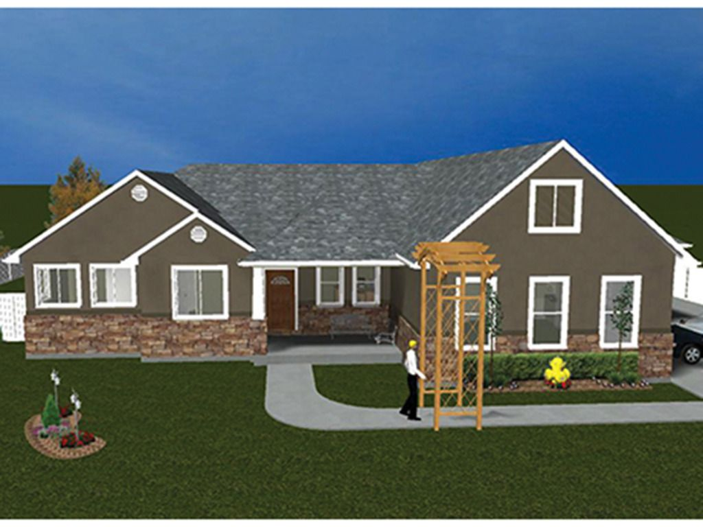 Ranch Exterior Front Elevation Plan House plans