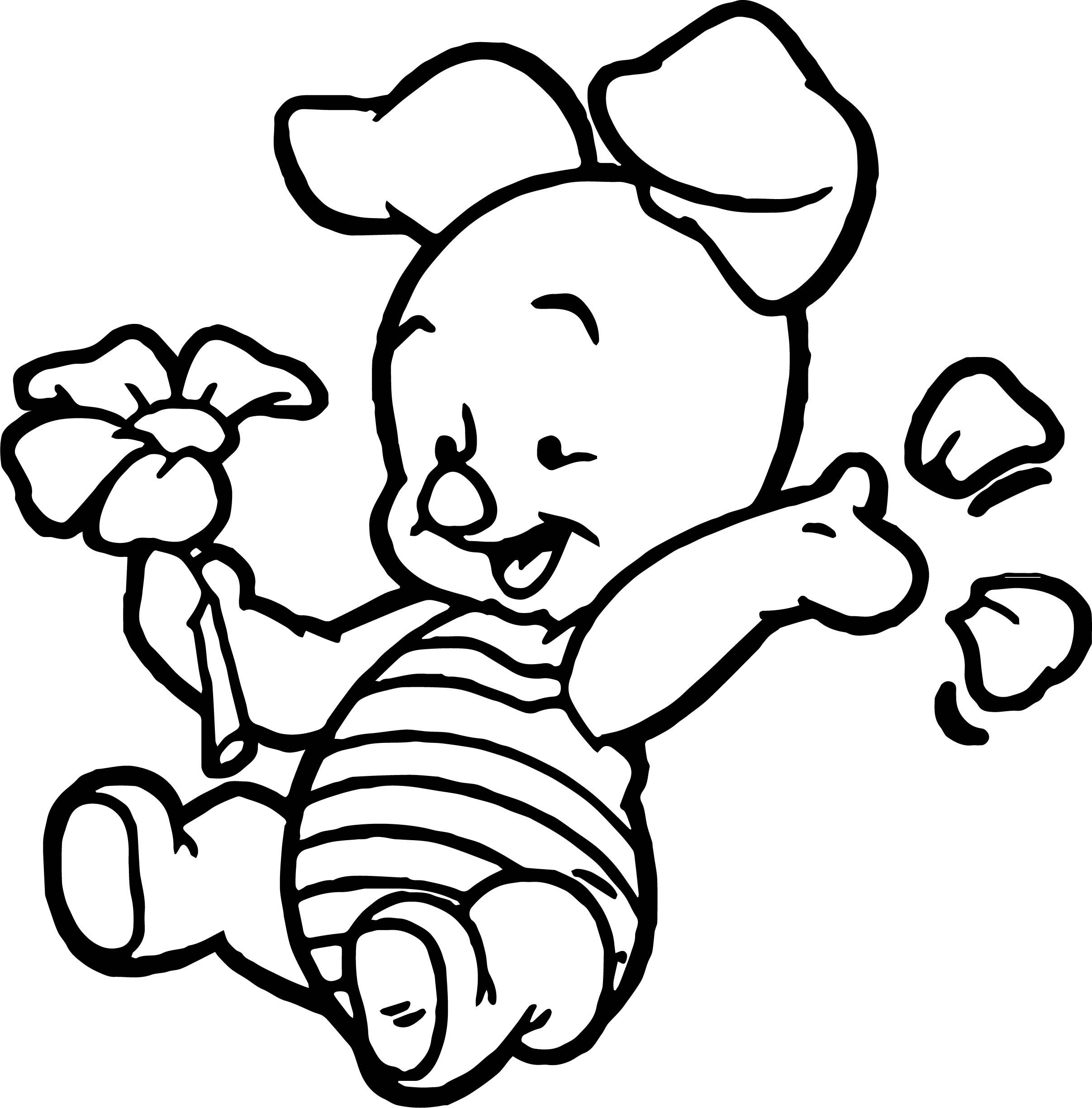 cool Baby Piglet Winnie The Pooh Flower Coloring Page  Winnie the