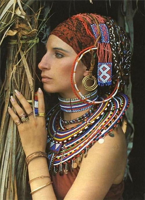 Barbra Steisand in Massai jewellery