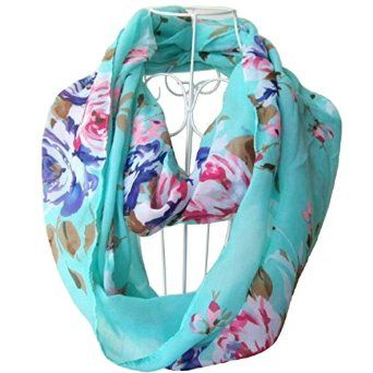 Green Tapp C Multicolor Floral Print Infinity Scarf