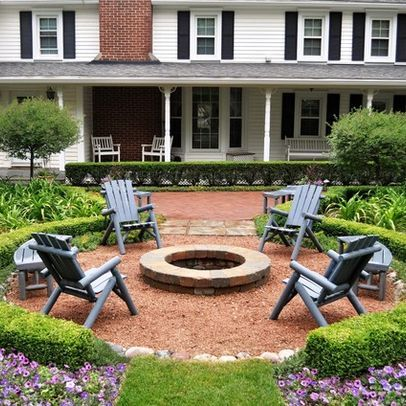 Red Wood Chips Around Fire Pit Our House Pinterest