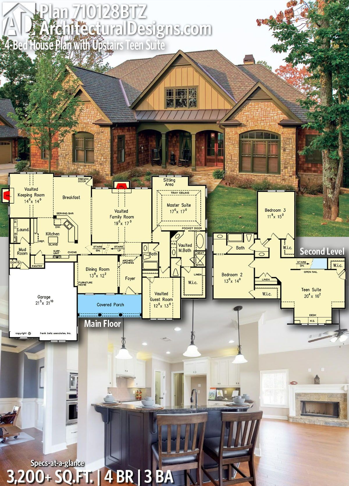 Photo of Plan 710128BTZ: 4-Bed House Plan with Upstairs Teen Suite